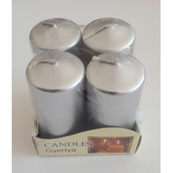 Adventné sviečky, metalická strieborná, 4 x 8 cm, 4 ks
