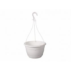 Závesný kvetináč, TEKU, lesklá biela, 25 cm