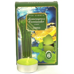 Sviečky, čajové vonné, citrónová tráva, 6 ks