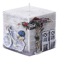 Dekoračná sviečka, kváder, Toskania, grafit, 7 x 7 x 7 cm