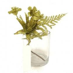 Zápich vianočný, glitter, kvet, zlatá, 17 cm