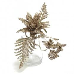 Zápich vianočný kvet, glitter, šampanské, 17 cm