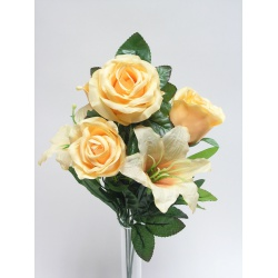 Kytica ruža + lalia, x7, mix farieb, 42 cm