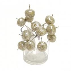 Zápich vianočný, jablko, glitter, mix farieb, 10 cm