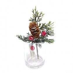 Zápich vianočn, šiška, šípky, 15 cm