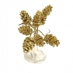 Zápich vianočný, šiška, zlatý, 15 cm