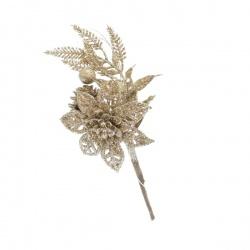 Zápich vianočný, ruža, glitter, šampanské, 17 cm