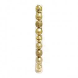 Vianočné gule, plastové, zlaté, 6 cm, 9 ks