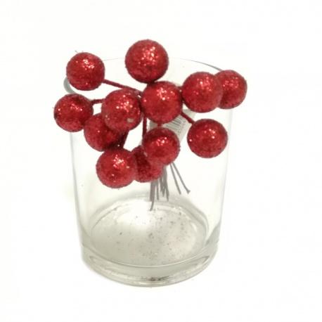 Zápich vianočný, guličky x12, glitter, červené, 1 cm