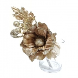 Zápich vianočný, magnolia, zlatý, 20 cm