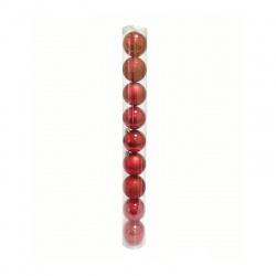 Vianočné gule, červené, 6 cm, 9 ks
