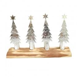 Svietnik adventný, stromčeky na drevenom podstavci, 25,5 cm