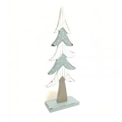 Drevený stromček, bielo modrý, 28 cm