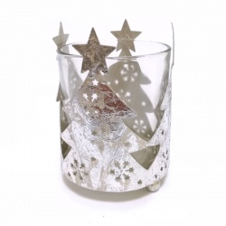Svietnik vianočný, sklenený pohar v dekoračnom obale, 7 x 10 cm