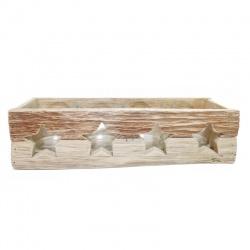 Svietnik vianočný, drevený, s hviezdičkami, 4 sklenené poháre, 37 cm