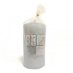 Sviečka valec, SENSITIVE, šedomodrá, 7 x 13 cm