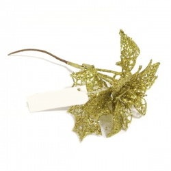 Zápich vianočný,vianočná ruža, zlatá, 24 cm