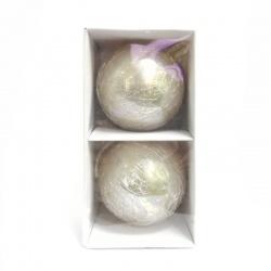 Sklenené vianočné gule, perlové, popraskané, 10 cm, 2 ks