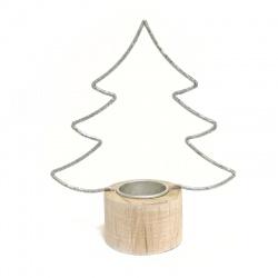 Svietnik stromček, drevo / kov, 19 cm