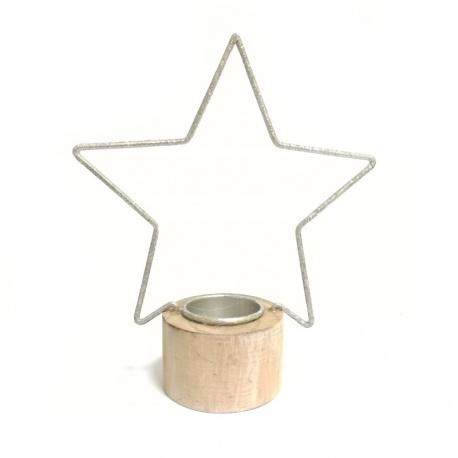 Svietnik hviezda, drevo / kov, strieborný, 18,5 cm