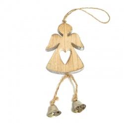 Záves anjel, veľký, drevo, 30 cm