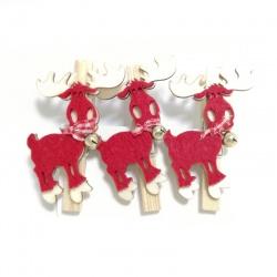 Štipec vianočný, jeleň, drevo, 3 ks