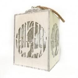 Lampáš vianočný, drevo, biely, 28,5 cm