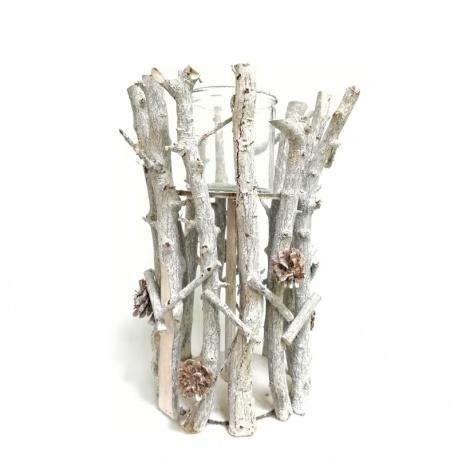 Svietnik, drevo, sklo, 27 x 40 cm
