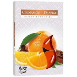 Vonné čajové sviečky, pomaranč, škorica, 6 ks