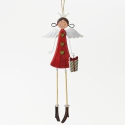 Záves anjel s darčekom, 34 cm