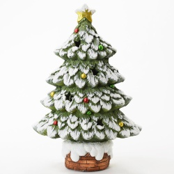Vianočná keramika, stromček, LED, 29 x 16 x 44 cm