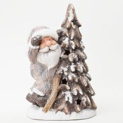 Vianočná keramika, Santa a strom, LED, 26,5 x 19,5 x 42 cm