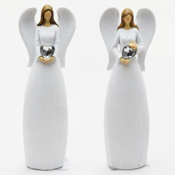 Keramický anjel, biely, mix, 6 x 3,5 x 19 cm, 1 ks