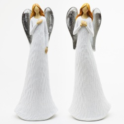 Keramický anjel, biely, mix, 10 x 7 x 26 cm, 1 ks