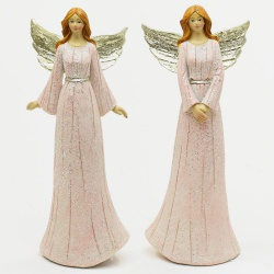 Keramický anjel, ružový, mix, 8 x 5 x 19,5 cm, 1 ks