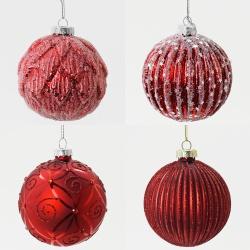 Vianočná gula, sklo, červená, mix, 8 cm, 1 ks