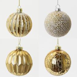 Vianočná gula, sklo, zlatá, mix, 8 cm, 1 ks