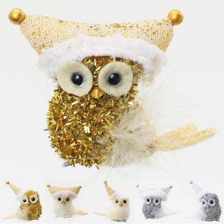 Štipec vianočná sova, mix, 7 cm, 1 ks