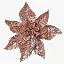 Štipec vianočná ruža, medená, glitter, 22 cm
