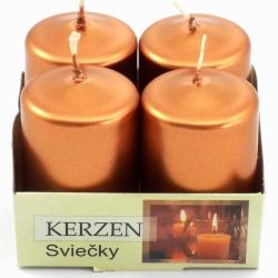 Sviečka adventná, metalická, medená, 4 x 6 cm, 4 ks