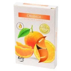 Vonné čajové sviečky, pomaranč, 6 ks