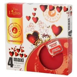 Vonné čajové sviečky, romantika, maxi, 6 x 6 x 2,2cm, 4 ks