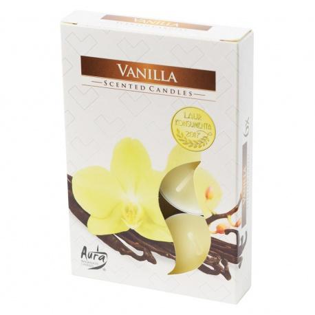 Vonné čajové sviečky, vanilka, 6 ks