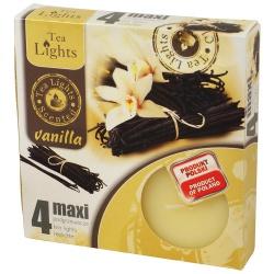 Vonné čajové sviečky, vanilka, maxi, 6 x 6 x 2,2cm, 4 ks