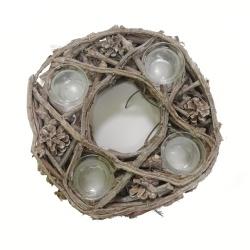 Adventný veniec, svietnik, drevený, 4 sviece, 28 cm