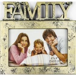 Plastový fotorám 10x15 FAMILY zlatá patina