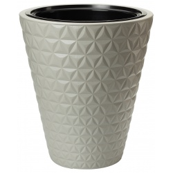 Kvetináč Diamond, nízky, šedý, 40 cm
