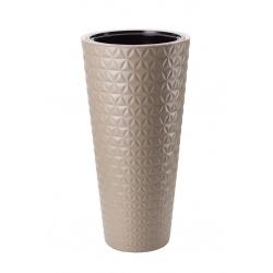 Kvetináč Diamond, vysoký, latte, 30 cm