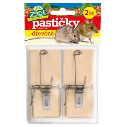 Pasca na myši, drevená, 2 ks