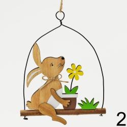 Záves zajac na hojdačke, mix, 10 x 14 cm